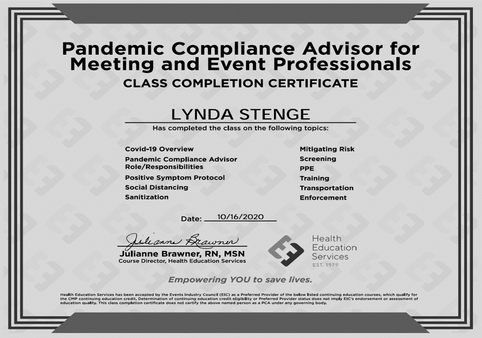 Blanche Agency Pandemic_Compliance_Advisor_For_Meeting_Event_Professionals_Certification